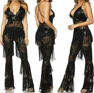 Fringes and mesh jumpsuit